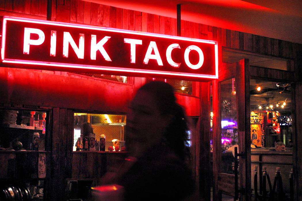 A sign for the Pink Taco inside the Hard Rock Hotel Casino, Wednesday Feb.26, 2003. (Las Vegas ...