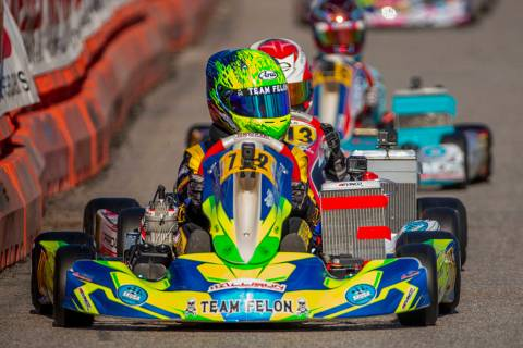 X30 Junior racer Connor Zilisch leads the pack down the straightaway during the SKUSA SuperNati ...
