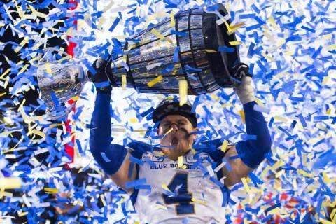 Winnipeg Blue Bombers' Adam Bighill celebrates winning the 107th Grey Cup against the Hamilton ...