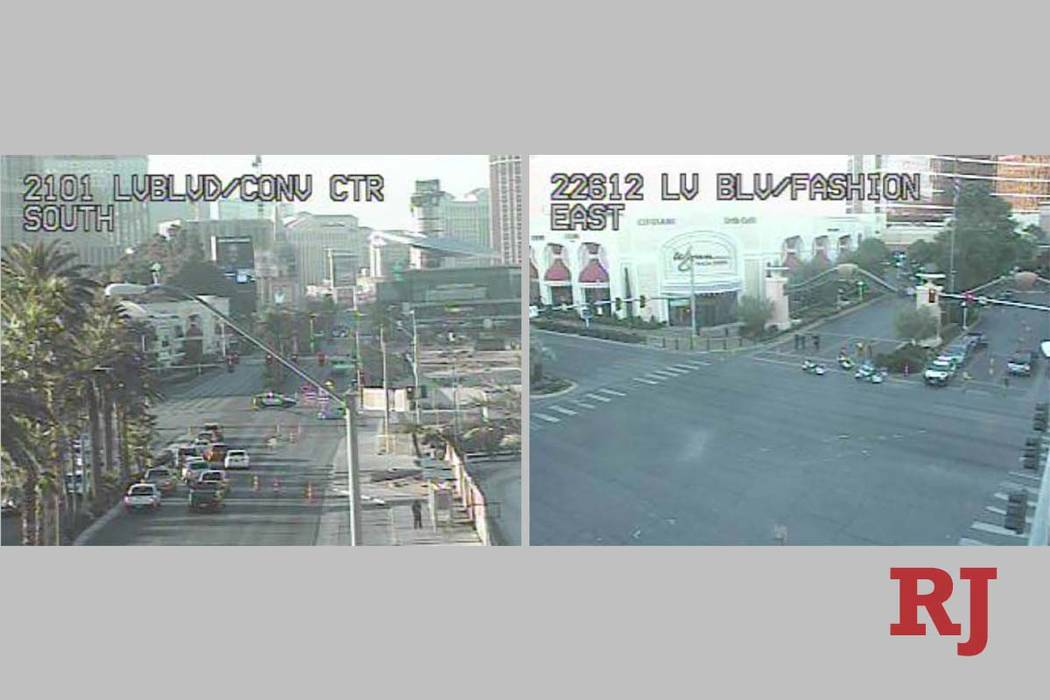 A crash has closed Las Vegas Boulevard South at the South Wynn Main Gate, Monday, Nov. 25, 2019 ...