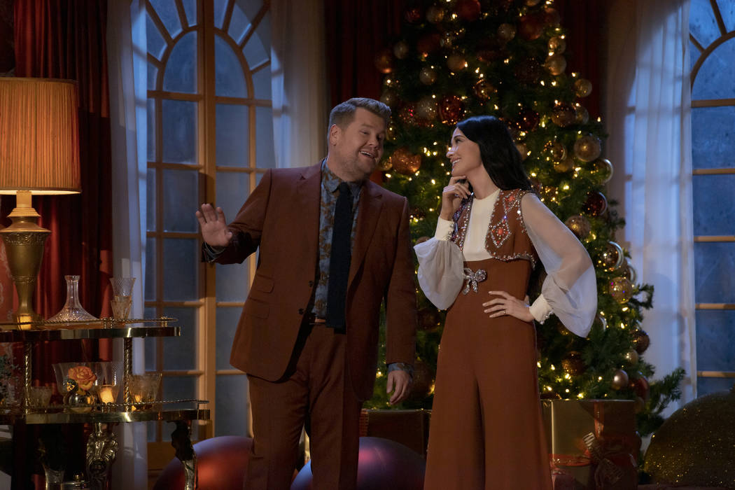 """James Corden and Kacey Musgraves in """"The Kacey Musgraves Christmas Show"""" (Anne Marie Fox/Am ..."""