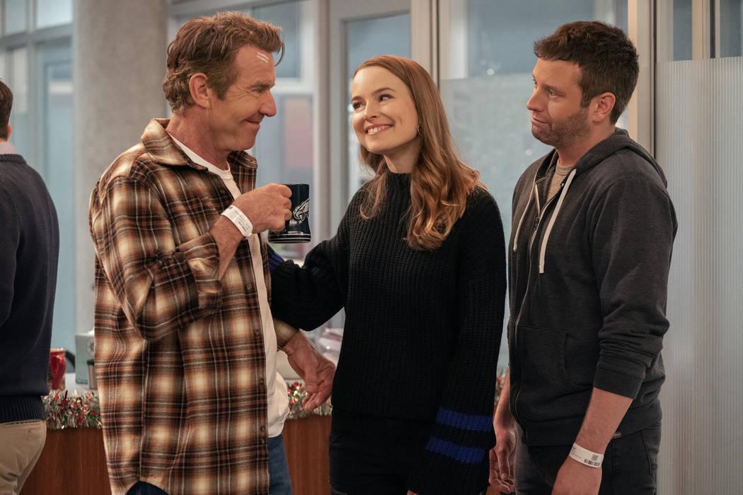Dennis Quaid, Bridgit Mendler, Brent Morin in Merry Happy Whatever. (Greg Gayne/Netflix)