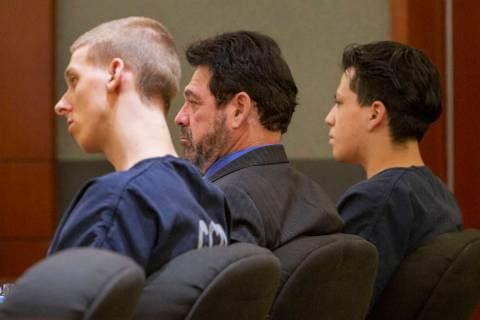 Kody Harlan, left, Jaiden Caruso's attorney Mace J. Yampolsky, center, and Jaiden Caruso, appea ...