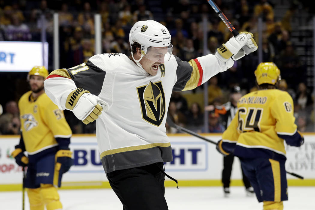Vegas Golden Knights right wing Mark Stone (61) celebrates after scoring a goal against the Nas ...