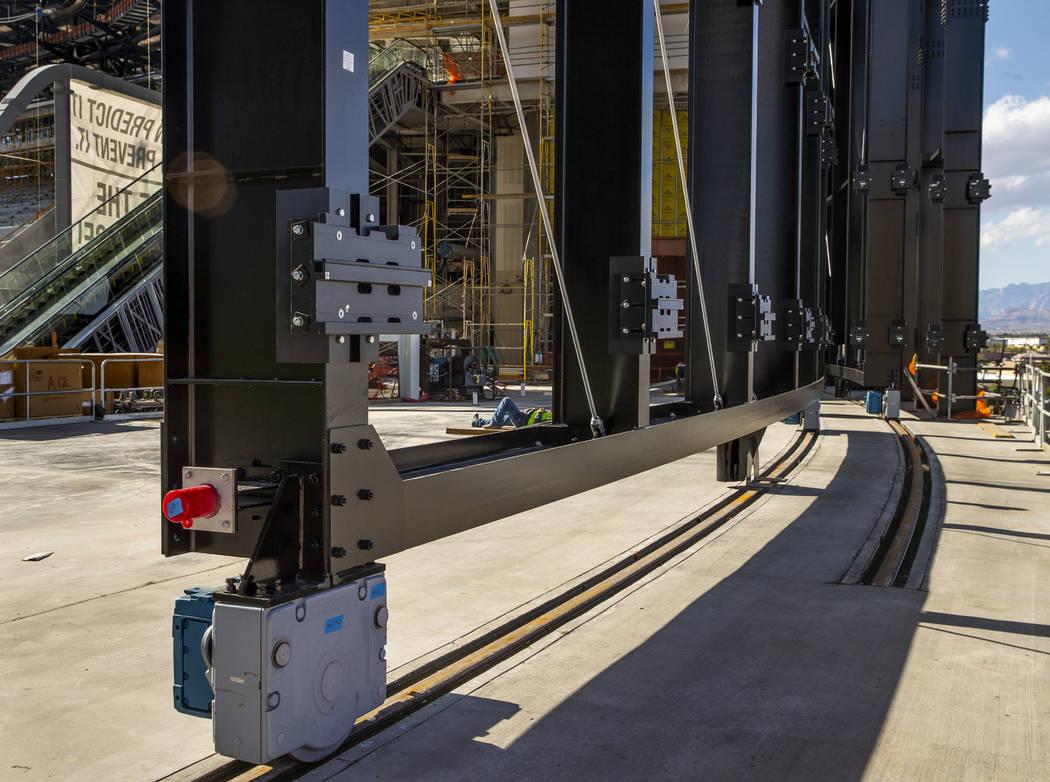 The retractable doors during a tour of the Raiders Allegiant Stadium construction site on Monda ...