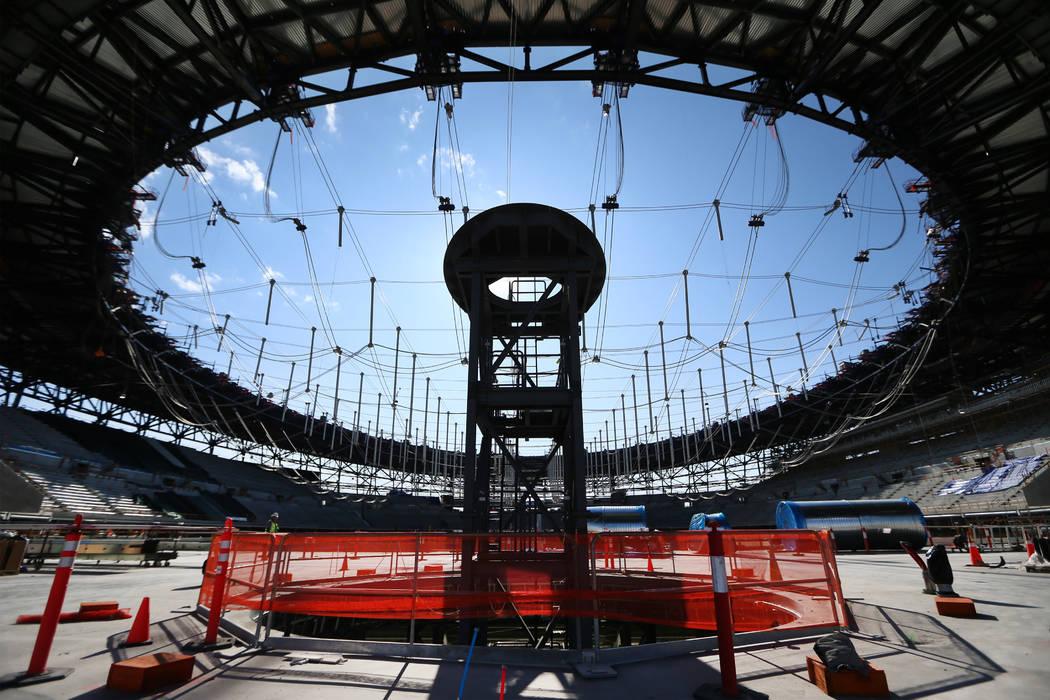 Contruction of the Al Davis memorial torch at the Raiders Allegiant Stadium site in Las Vegas, ...
