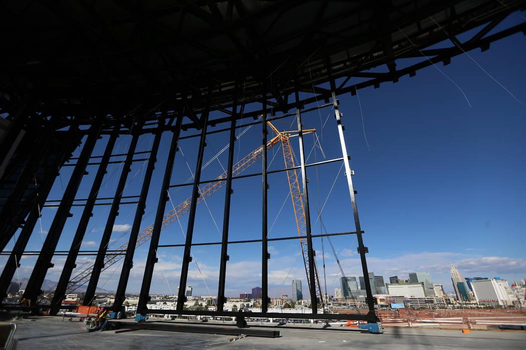 The lanai doors at the Raiders Allegiant Stadium construction site in Las Vegas, Monday, Nov. 2 ...