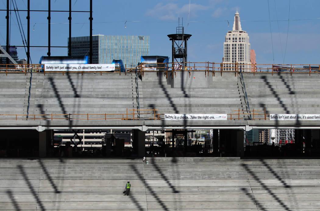 The Raiders Allegiant Stadium construction site in Las Vegas, Monday, Nov. 25, 2019. (Erik Verd ...
