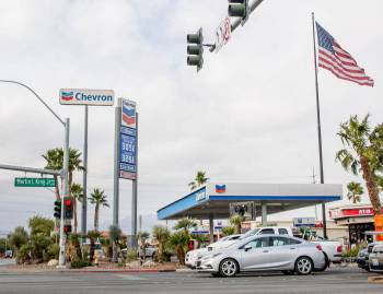 A Chevron on the northeast corner of Martin Luther King Boulevard and Bonanza Road, where a gir ...
