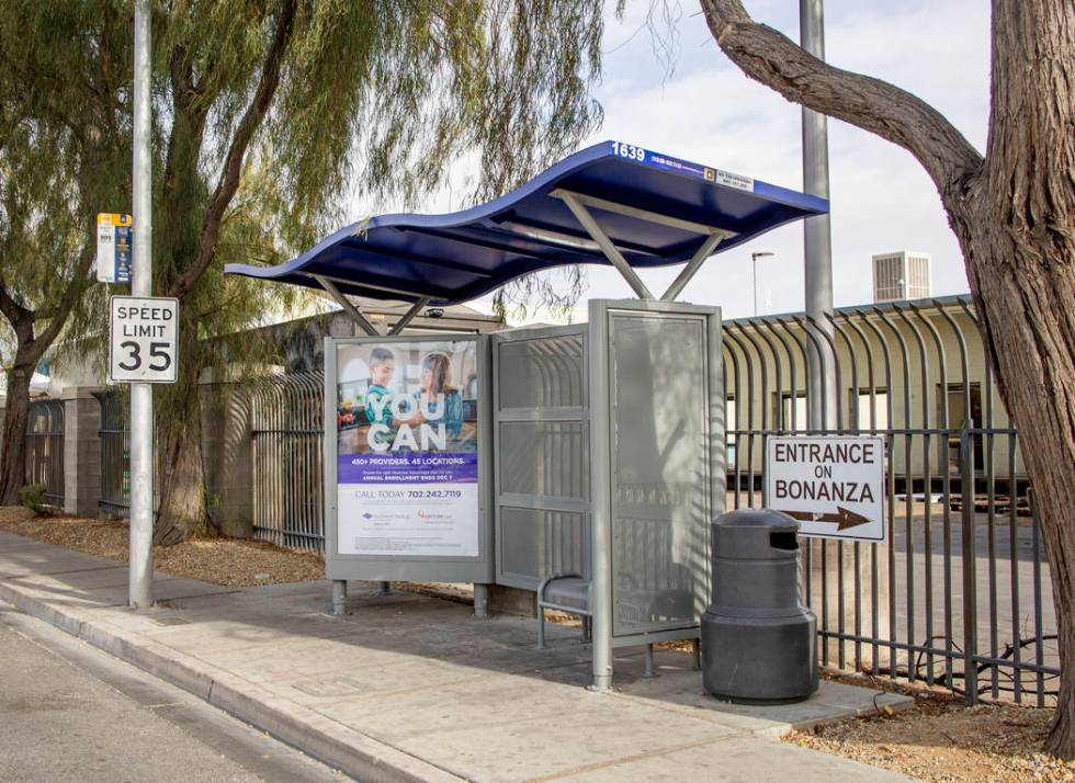 A city bus stop on the northeast corner of Martin Luther King Boulevard and Bonanza Road, where ...