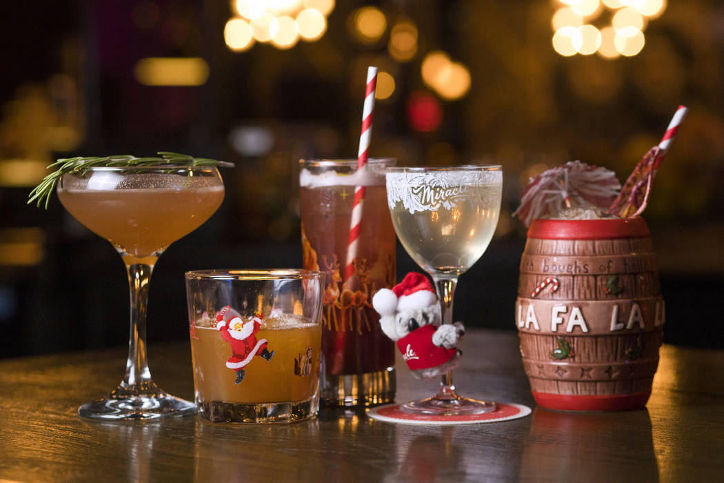 The Miracle Pop-Up Bar lineup from left, the Christmapolitan, the Snowball Old-Fashioned, the R ...