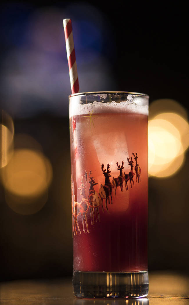 The Run Run Rudolph made of prosecco, London dry gin, mulled wine puree, lemon, and cane syrup, ...