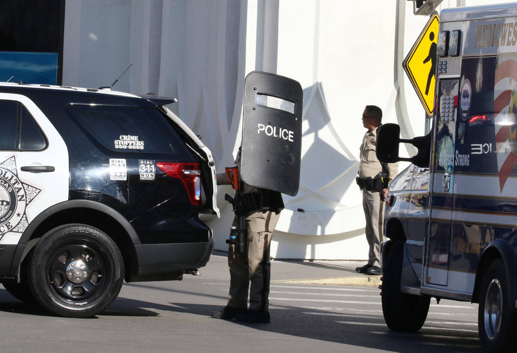Las Vegas police investigate after a man with a firearm barricaded himself in a room at Circus ...