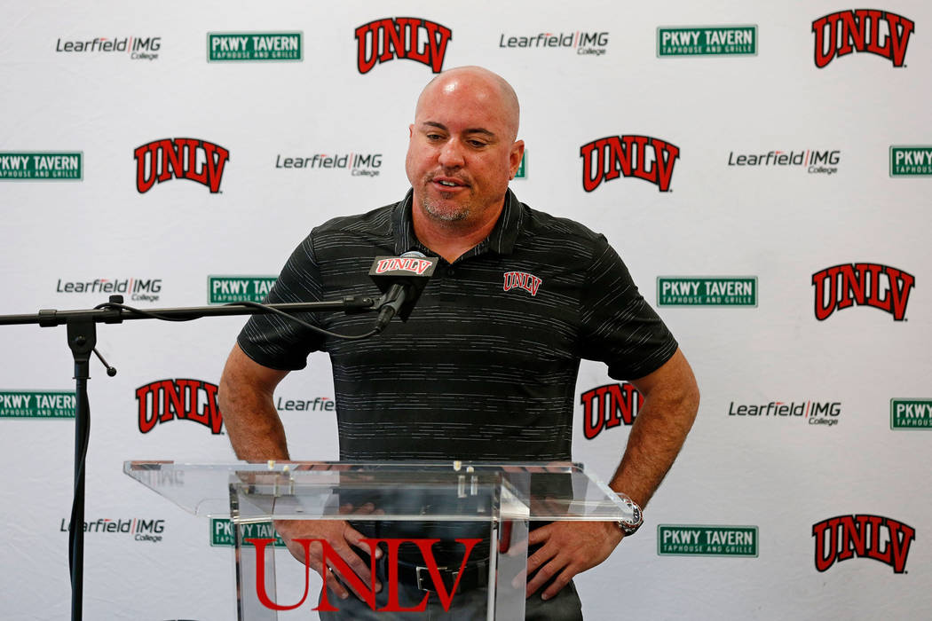 UNLV football head coach Tony Sanchez speaks during a news conference about his departure at UN ...