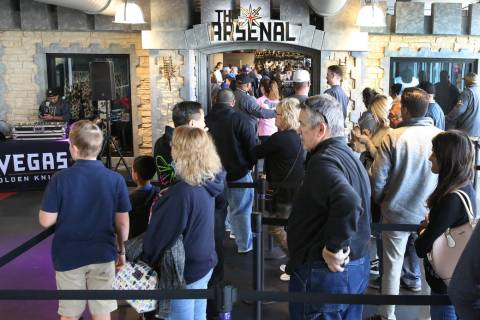 Black Friday sale shoppers lined up at the Arsenal retail store at the City National Arena duri ...