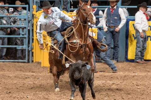 Tie-down roper Ryan Jarrett competing in the 2017 Wrangler National Finals Rodeo. (Greg Westfal ...