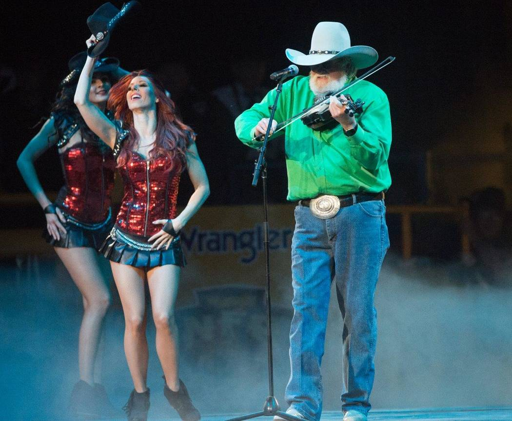 Charlie Daniels performs during Night 6 of the 2016 Wrangler National Finals Rodeo at the Thoma ...