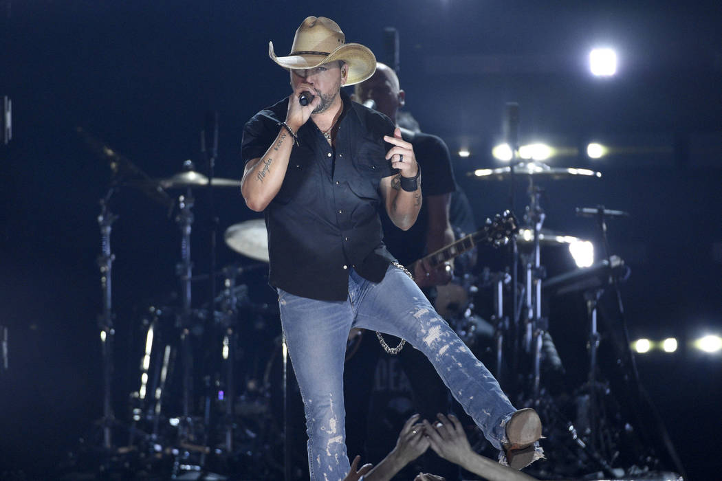 Jason Aldean, winner of the Dick Clark artist of the decade award, performs at the 54th annual ...