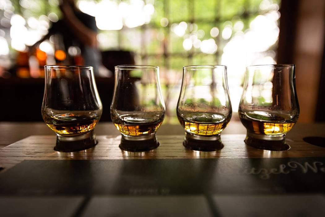 Bourbon Flight with selective focus on four samples. (Getty Images)