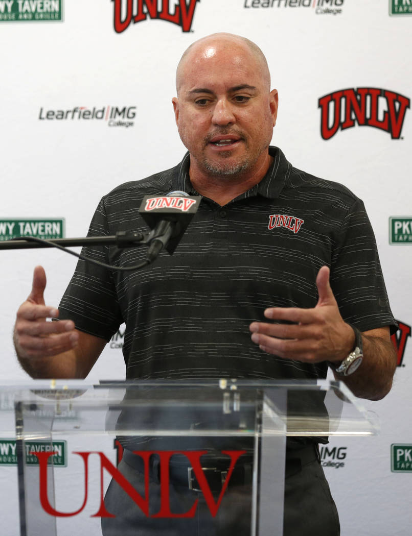 UNLV football head coach Tony Sanchez speaks about his departure during a news conference at UN ...