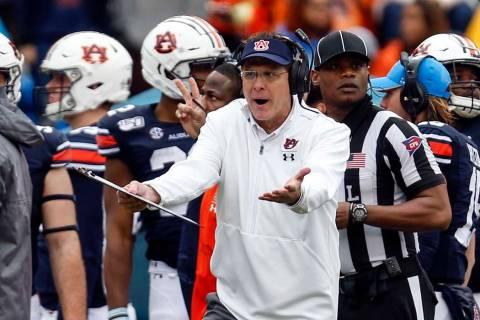 Auburn head coach Gus Malzahn reacts to a call during the second half of an NCAA college footba ...
