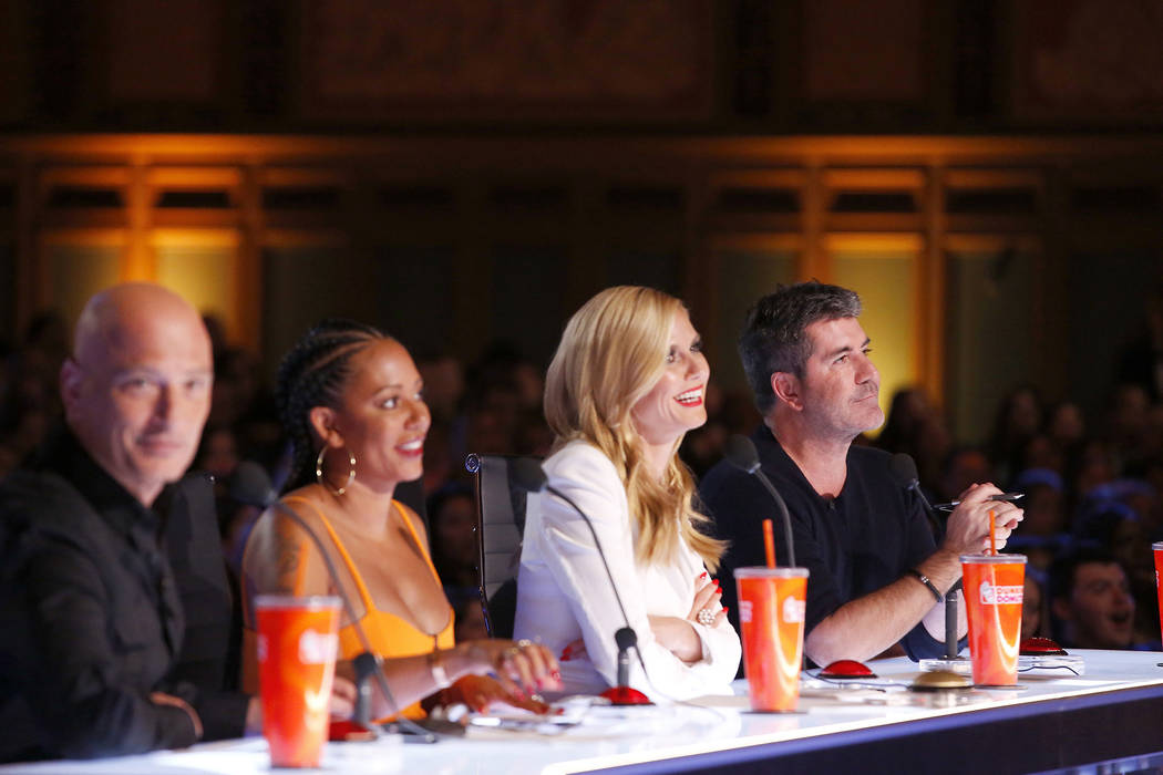 "From left, Howie Mandel, Mel B, Heidi Klum, SImon Cowell on ""America's Got Talent."" Trae Patton ..."
