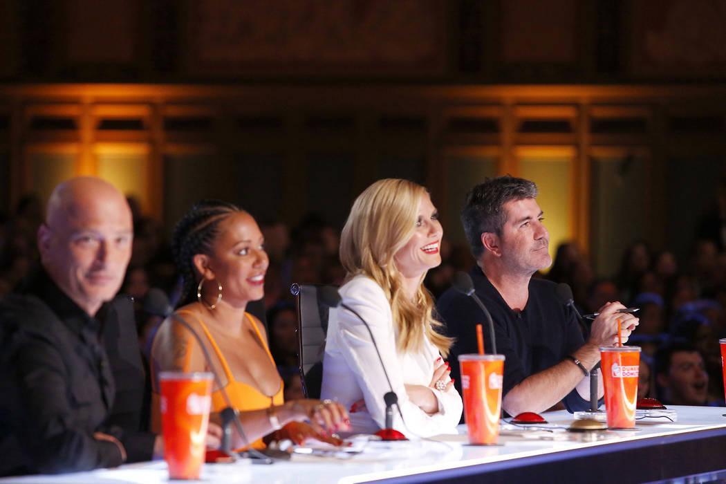 "From left, Howie Mandel, Mel B, Heidi Klum, SImon Cowell on ""America's Got Talent."" Trae Patton ..."