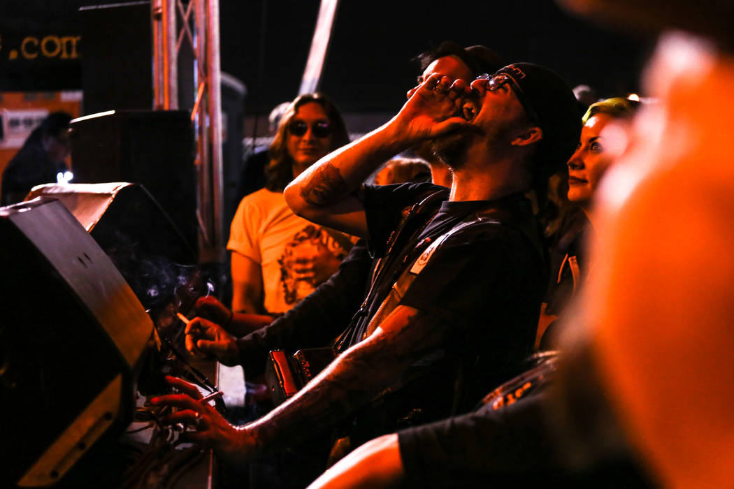 Jesse Naders of Las Vegas, 40, cheers during the 25th anniversary show at the Double Down Saloo ...