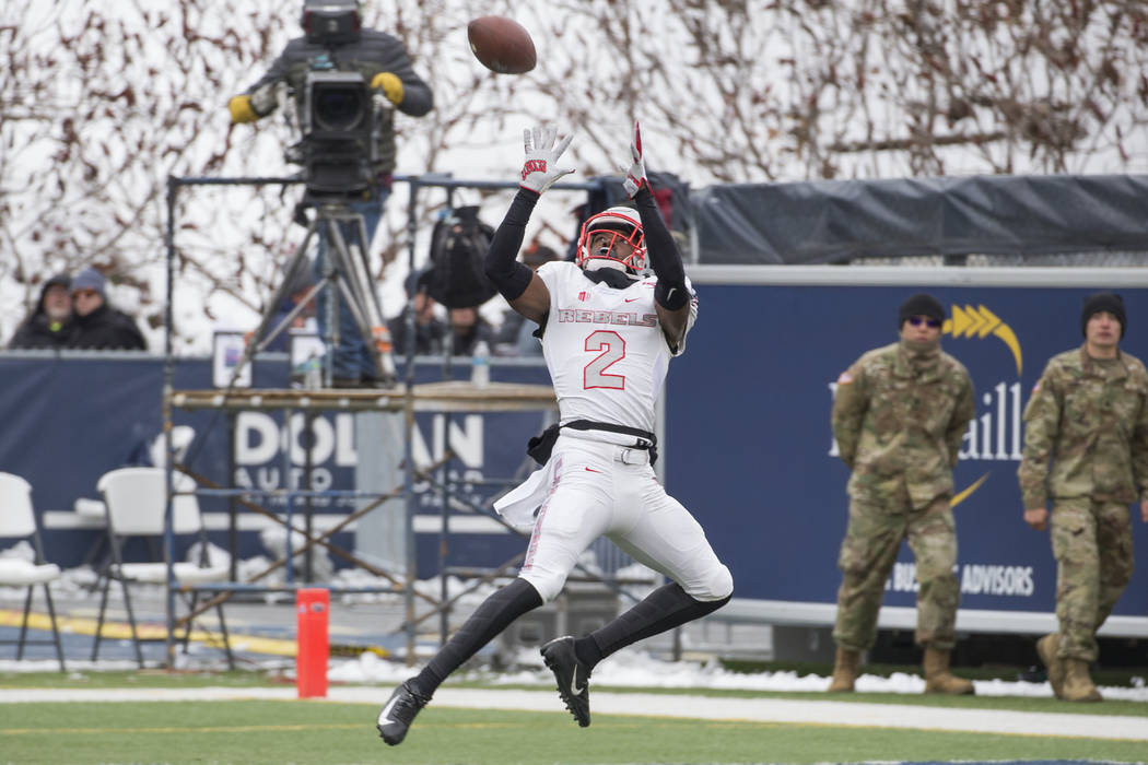 UNLV wide receiver Mekhi Stevenson (2) makes a catch in the end zone for a touchdown against Ne ...