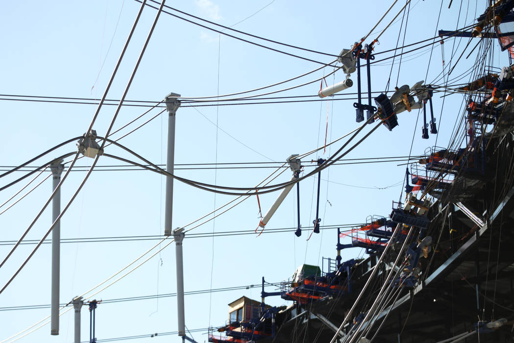 The cable net system at the Raiders Allegiant Stadium construction site in Las Vegas, Monday, N ...