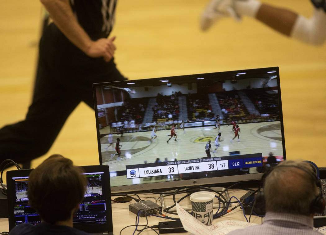The college basketball game between UC-Irvine and Louisiana is recorded for TV from the Clark H ...