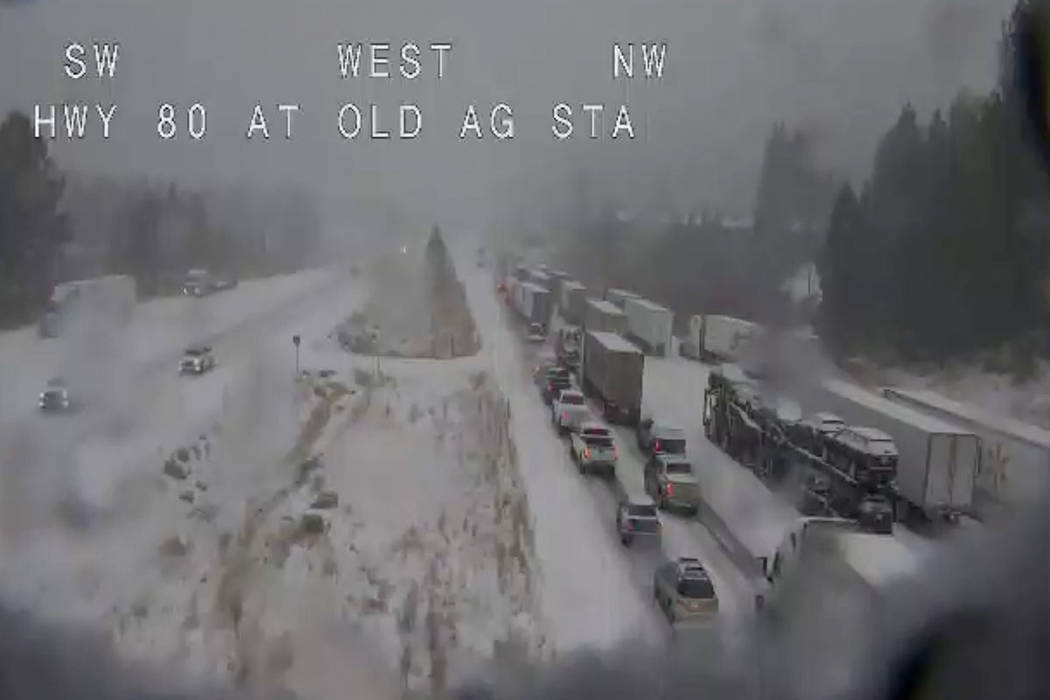 In this still image taken from a Caltrans remote video traffic camera, traffic is stopped along ...