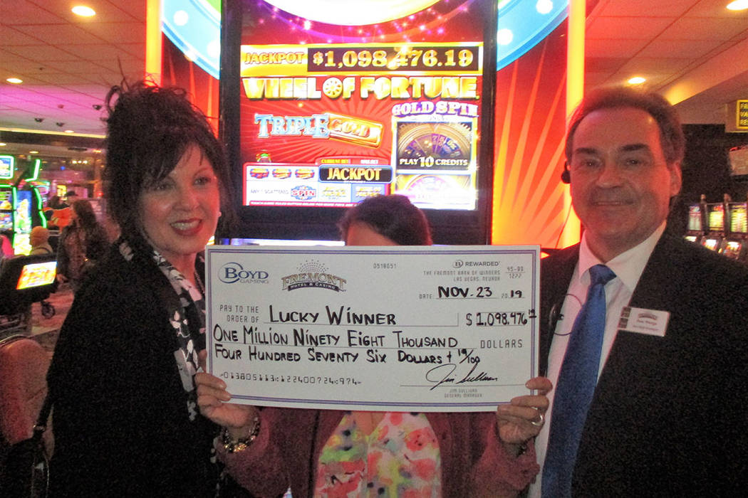 Playing a Wheel of Fortune slot machine at the Fremont on Saturday, Nov. 23, 2019, paid a Hawai ...