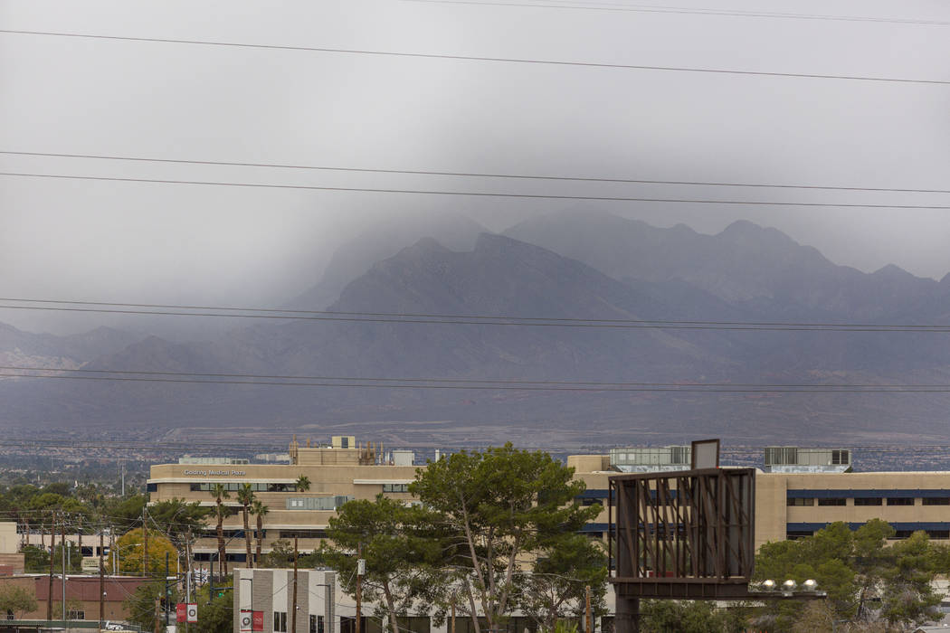 Heavy clouds roll in west Las Vegas toward Summerlin on Wednesday, Nov. 27, 2019. (Elizabeth Br ...
