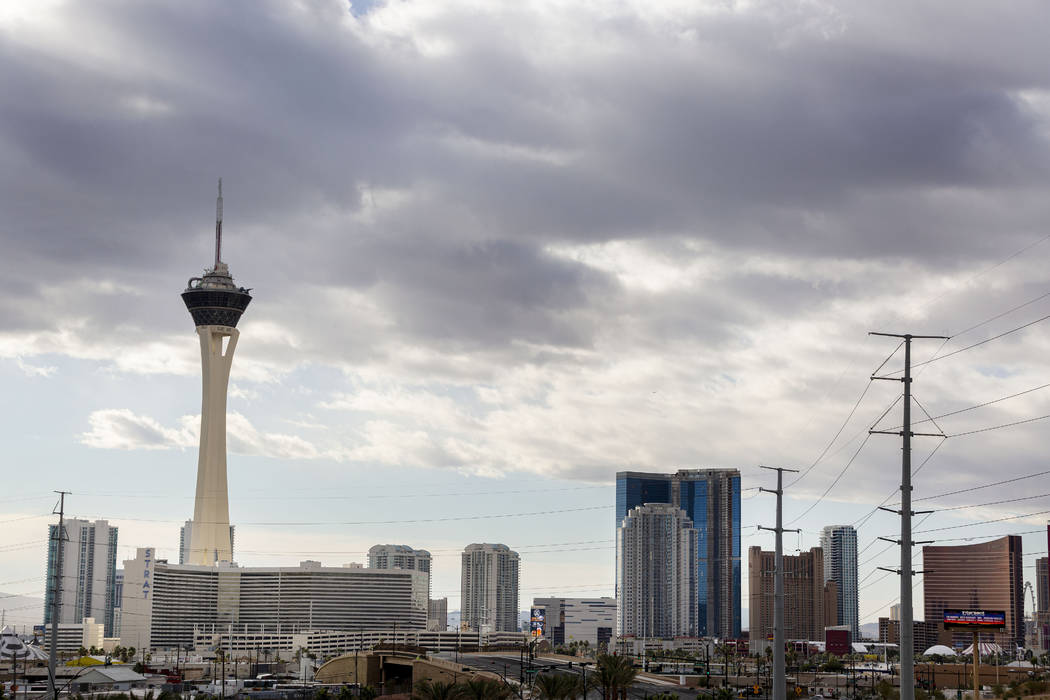 Heavy clouds roll in over the Las Vegas Strip on Wednesday, Nov. 27, 2019. (Elizabeth Brumley / ...