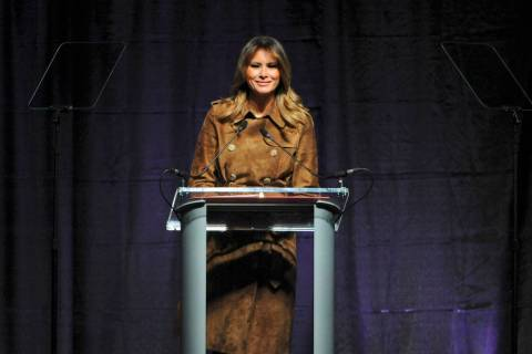 First lady Melania Trump speaks at the B'More Youth Summit, Tuesday, Nov. 26, 2019, at UMBC in ...