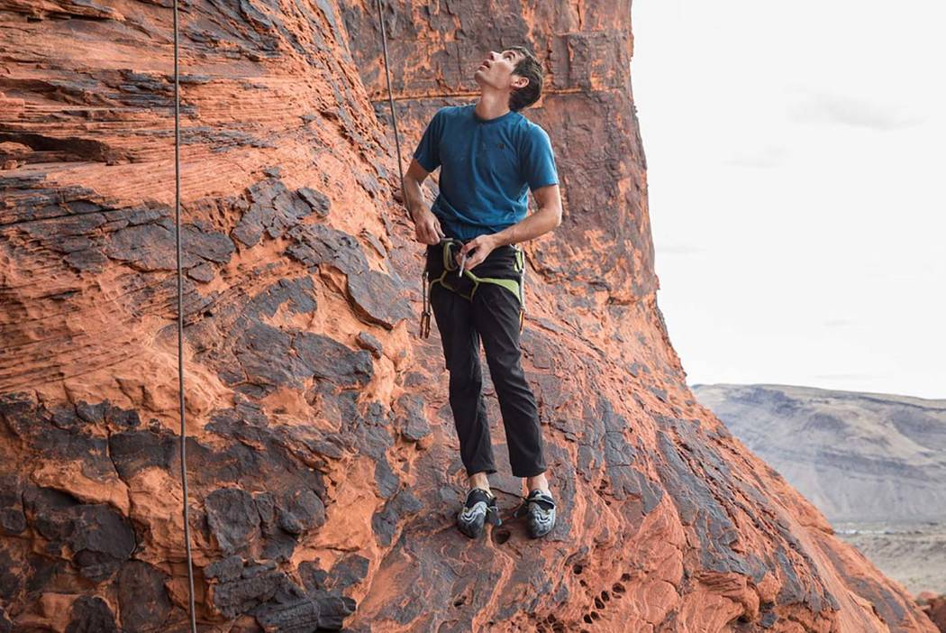 Alex Honnold prepares to climb at The Gallery at Red Rock Canyon on Monday, Dec. 17, 2018, in L ...