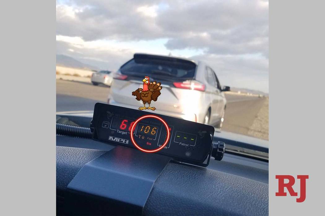 A Nevada Highway Patrol trooper pulled over a driver for speeding on Interstate 15 near Primm o ...