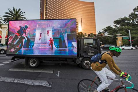 A mobile billboard truck drives on the Strip at on Saturday, Nov. 30, 2019, in Las Vegas. (Benj ...