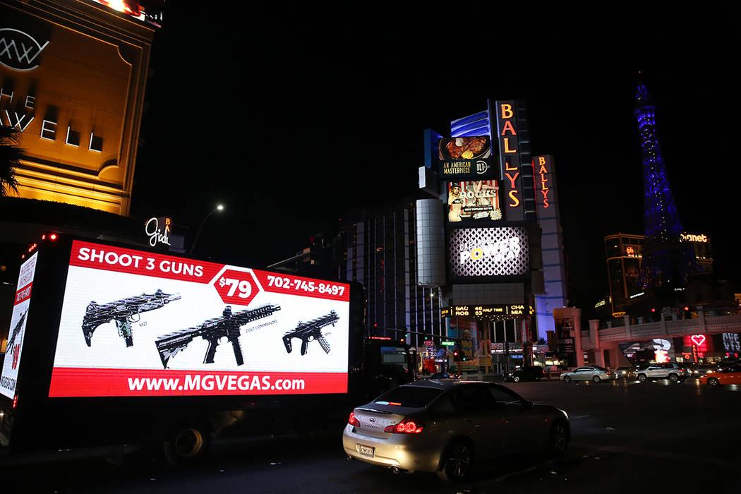 A mobile billboard on the Strip near Flamingo Road in Las Vegas, Monday, Nov. 25, 2019. (Erik V ...