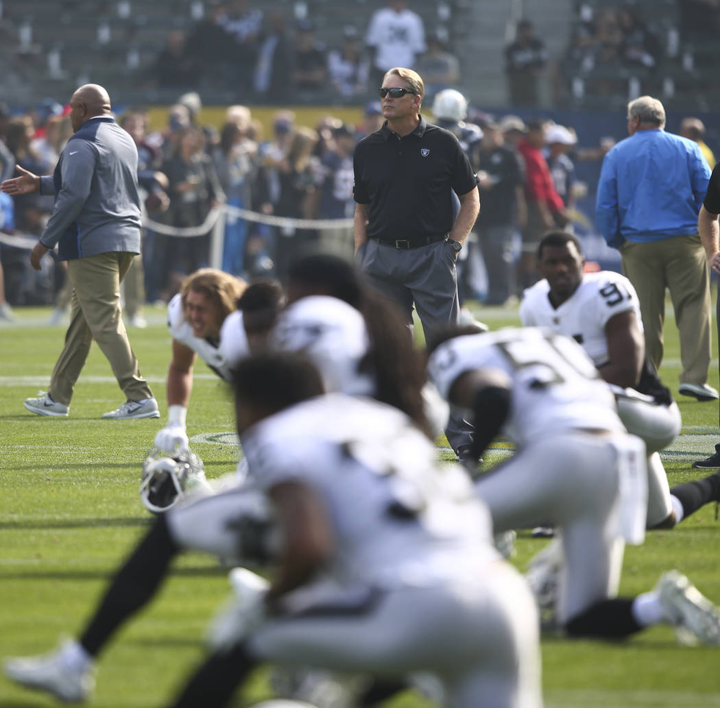 Oakland Raiders head coach Jack Del Rio watches as his team warms up before playing the Los Ang ...