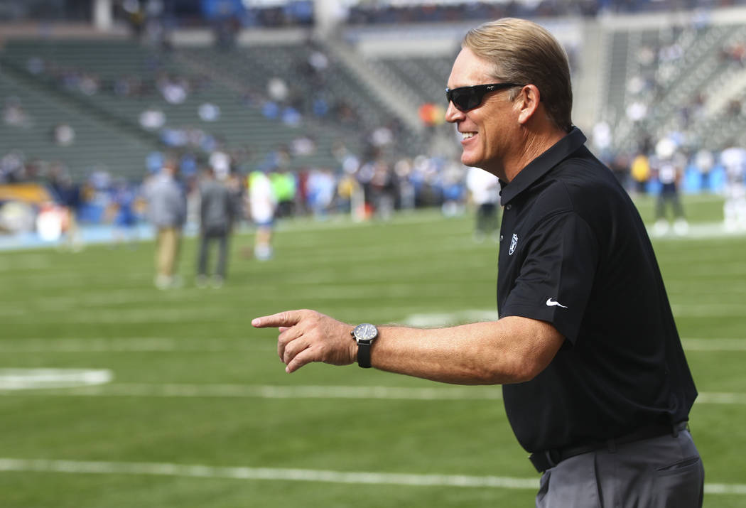 Oakland Raiders head coach Jack Del Rio before his team plays the Los Angeles Chargers during a ...