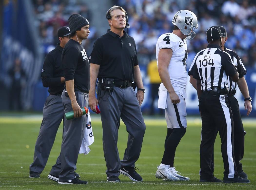 Oakland Raiders head coach Jack Del Rio, third from left, with quarterback Derek Carr (4) durin ...