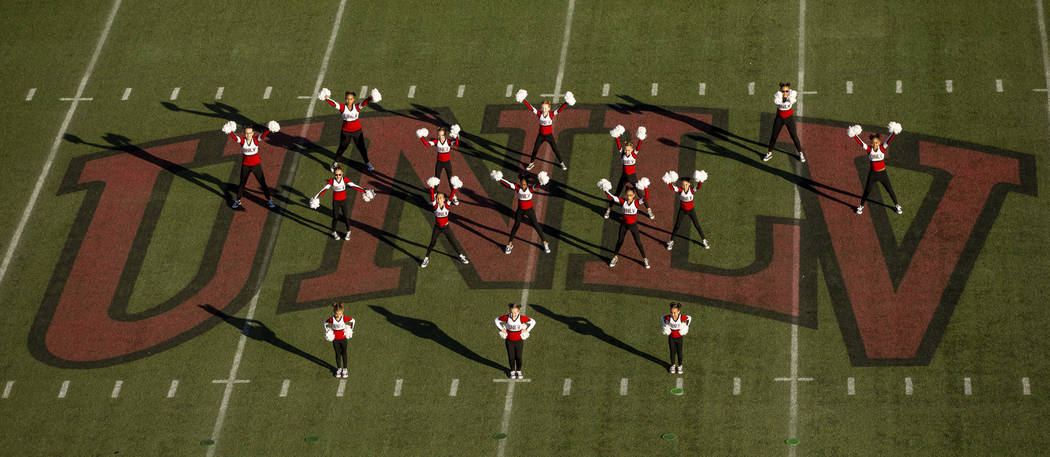 The Rebel Dolls perform at halftime as the UNLV Rebels battle the San Jose State Spartans durin ...