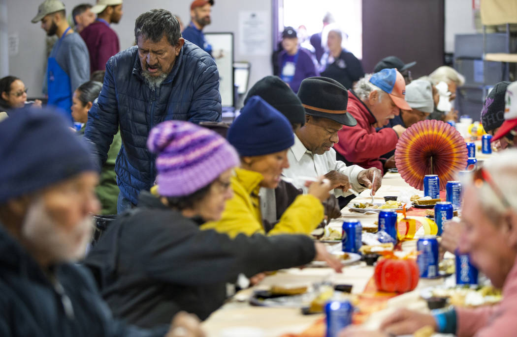 The St. Lied Vincent Dining Hall is full as Catholic Charities of Southern Nevada serves its 54 ...