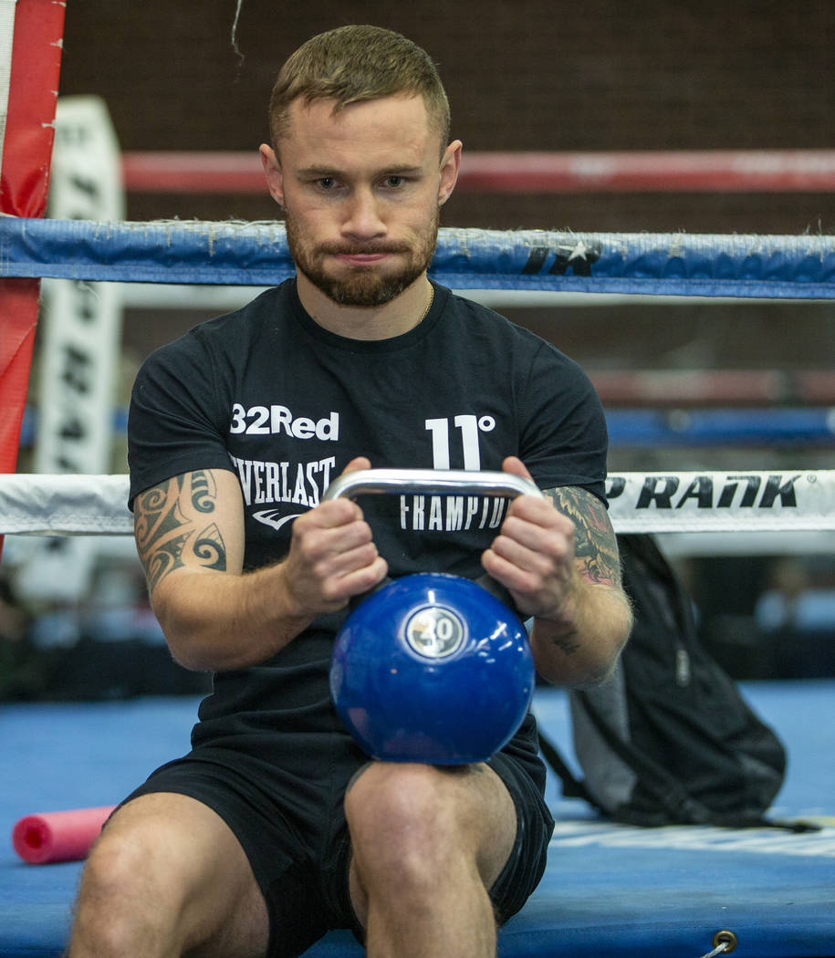 Former two-weight world boxing champion Carl Frampton is seen during a training at the Top Rank ...