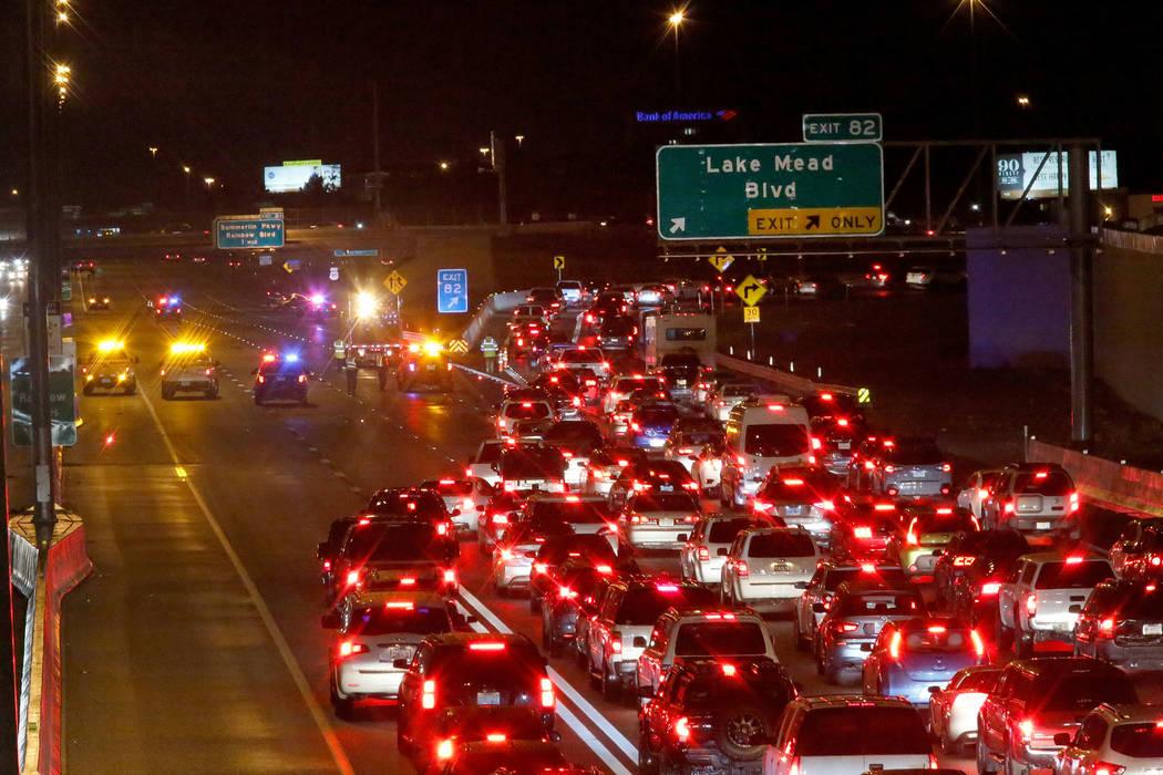 Traffic backs up after a fatal crash on U.S. Highway 95 near Lake Mead Boulevard, Thursday, Nov ...