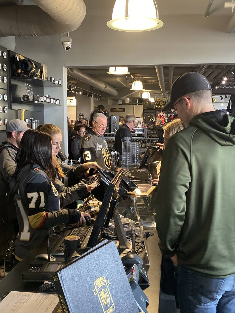 """Golden Knights fans hit The Arsenal at City National Arena early for """"Gold Friday,"""" Nov. 29, 20 ..."""