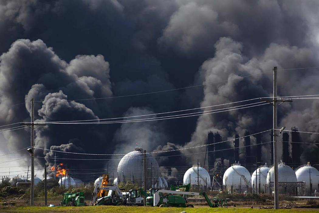 Smoke from an explosion at the TPC Group plant is seen Wednesday, Nov. 27, 2019, in Port Neches ...