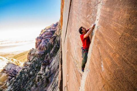 An undated photo of Brad Gobright climbing in Red Rock Canyon National Conservation Area. Gobri ...